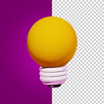Style de dessin animé de l'icône de rendu 3d ampoule