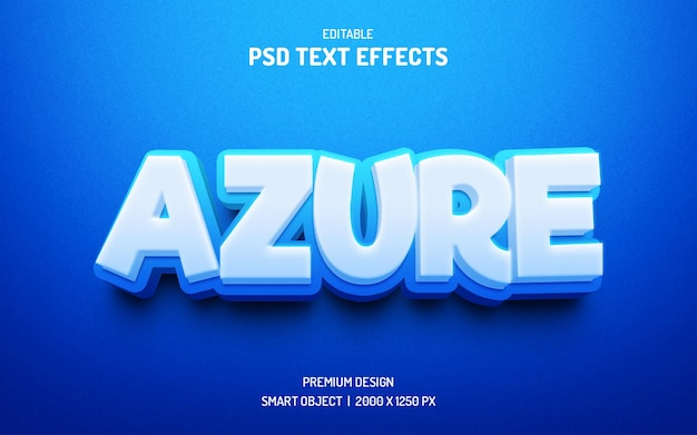 Style d'effet de texte 3d modifiable azure