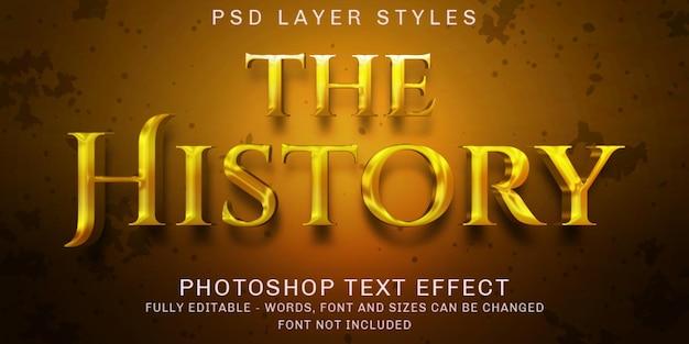 Style d'effet de texte d'or d'histoire créative