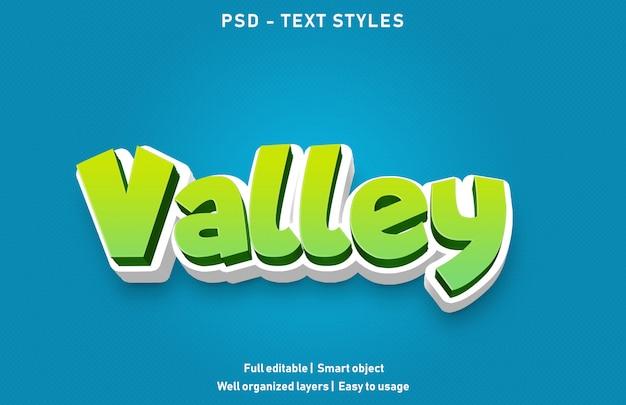 Style d'effets de texte valley