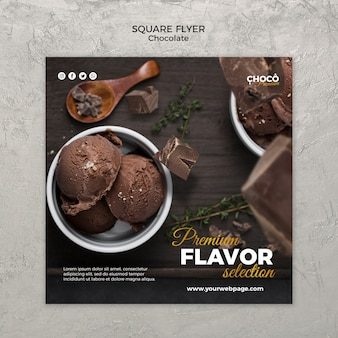 Style de flyer carré concept chocolat