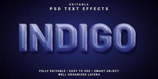 Style indigo d'effet de texte modifiable 3d