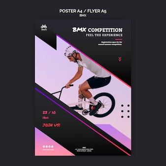 Style de modèle d'affiche de concours bmx