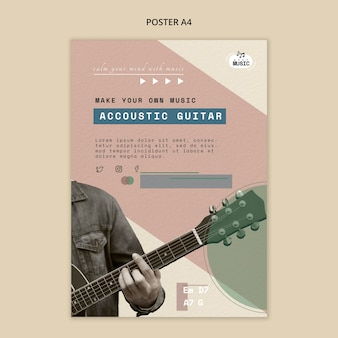Style de modèle d'affiche de leçons de guitare acoustique