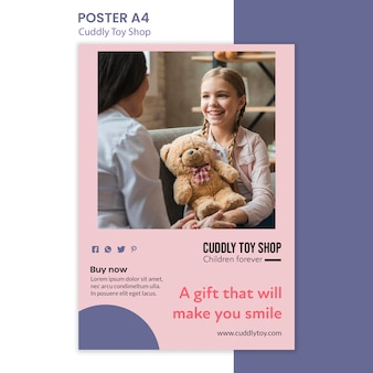 Style de modèle d'affiche de magasin de jouets câlins