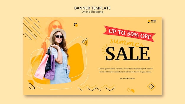 Style de modèle de bannière achats en ligne
