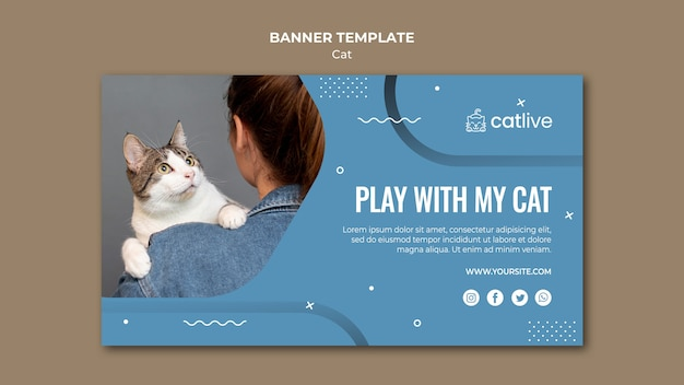 Style de modèle de bannière d'amant de chat