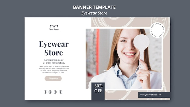 Style de modèle de bannière de magasin de lunettes