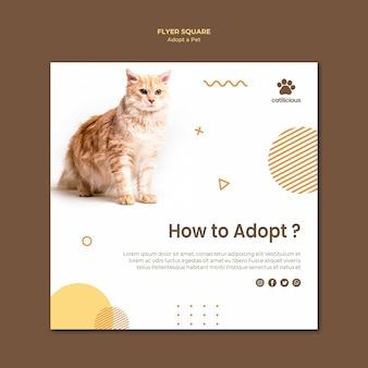 Style de modèle de flyer carré adoption d'animaux