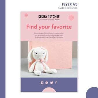 Style de modèle de flyer de magasin de jouets câlins