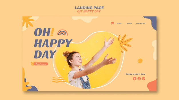 Style de page de destination pour le concept happy day