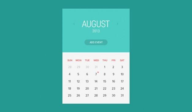 Le style plat widget de calendrier