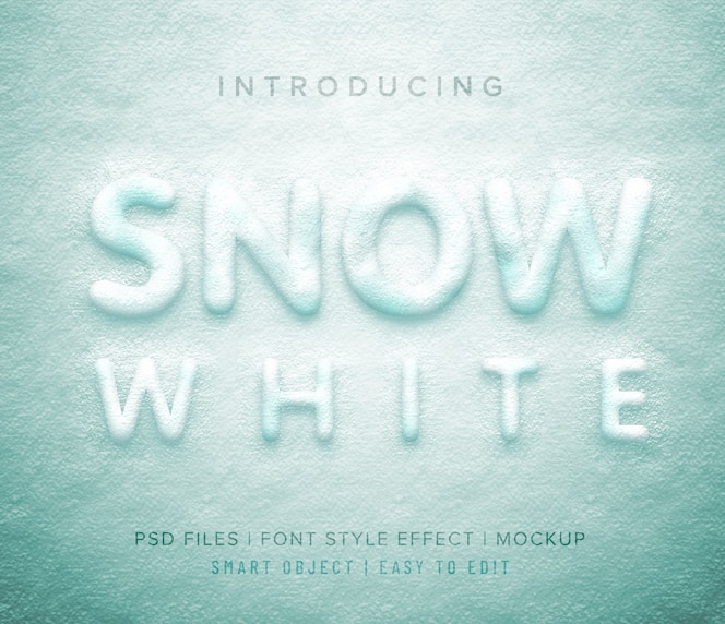 Style de police 3d blanc neige