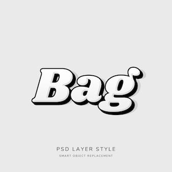 Style de texte 3d blanc avec contour noir