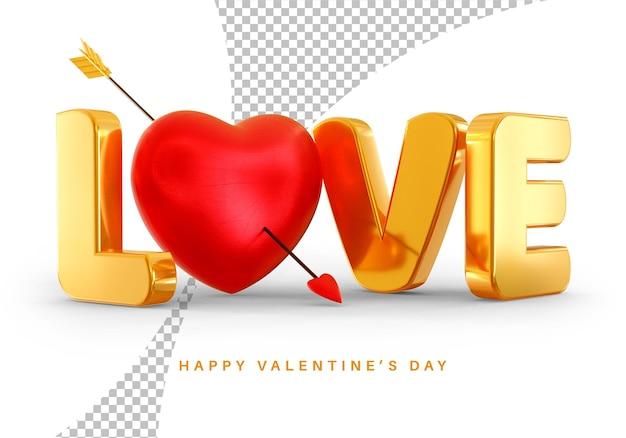 Style de texte d'amour avec le rendu 3d de coeur saint valentin isolé