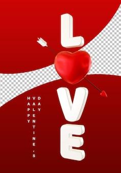 Style de texte d'amour vertical avec rendu 3d de coeur saint valentin isolé