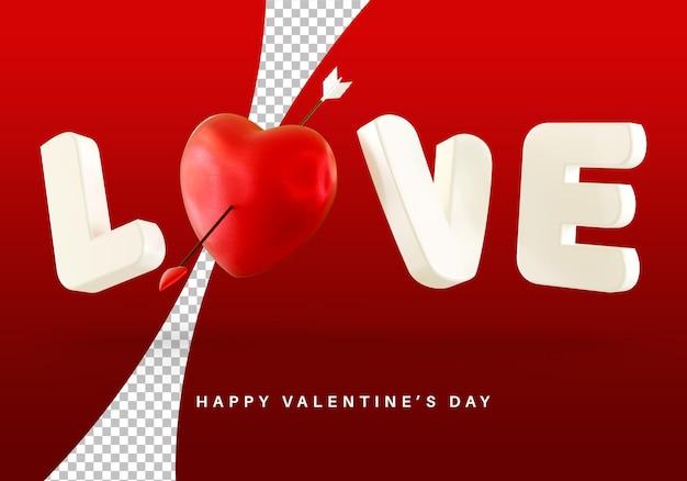 Style de texte d'amour de vol avec le rendu 3d de coeur de la saint-valentin isolé