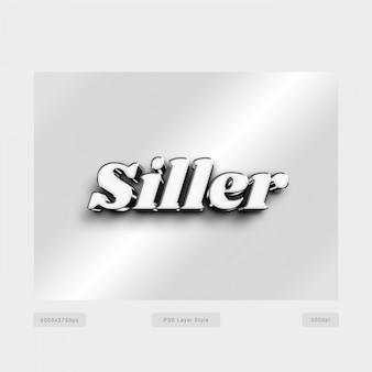 Style de texte en argent 3d