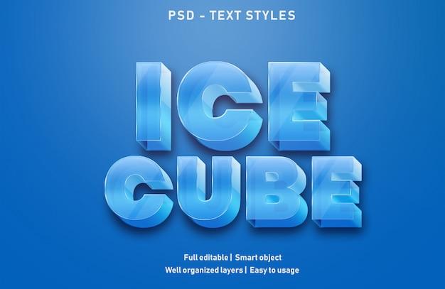 Style de texte de cube de glace psd modifiable