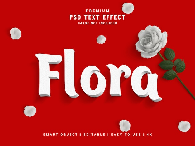 Style de texte flore rouge
