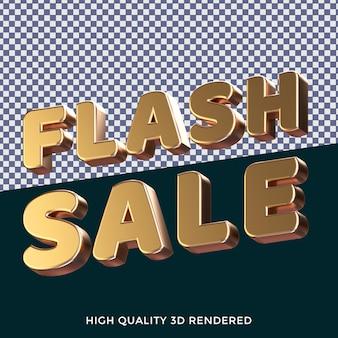 Style de texte isolé rendu 3d de vente flash avec une texture métallique dorée réaliste