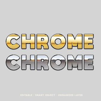 Style de texte en métal chromé