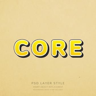 Style de texte vintage jaune dégradé 3d