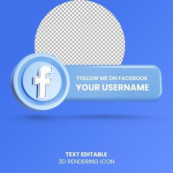 Suivez-moi sur l'icône du logo des médias sociaux de rendu 3d de l'étiquette facebook