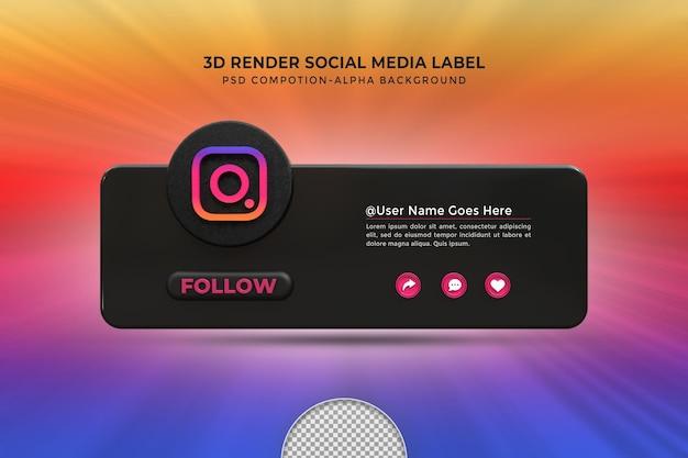 Suivez-moi sur les médias sociaux instagram tiers inférieur insigne d'icône de rendu de conception 3d avec cadre