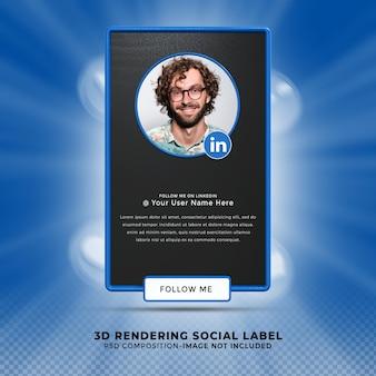 Suivez-moi sur les médias sociaux linkedin tiers inférieur rendu de conception 3d bannière icône profil