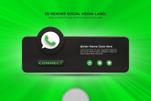Suivez-moi sur les médias sociaux whatsapp troisième insigne d'icône de rendu de conception 3d inférieur avec cadre