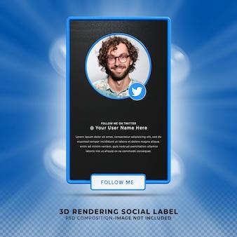 Suivez-moi sur twitter médias sociaux tiers inférieur rendu de conception 3d bannière icône profil