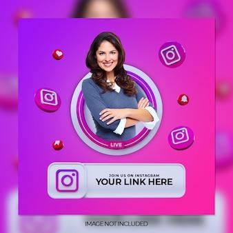 Suivez-nous sur la bannière carrée des médias sociaux instagram avec logo 3d et boîte de profil de lien