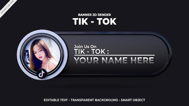 Suivez-nous sur la bannière carrée des médias sociaux tik tok avec logo 3d et boîte de profil de lien