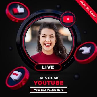 Suivez-nous sur la bannière carrée des médias sociaux youtube avec logo 3d et profil de lien