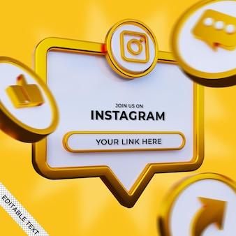 Suivez-nous sur instagram bannière carrée de médias sociaux avec logo 3d et profil de lien