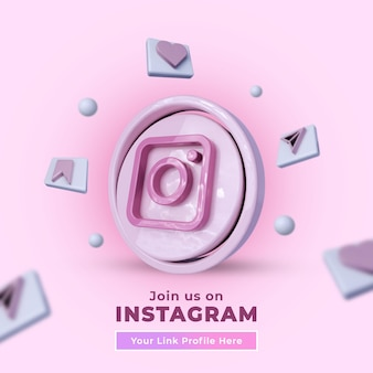 Suivez-nous sur instagram bannière carrée de médias sociaux avec logo 3d
