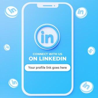 Suivez-nous sur la maquette de publication sur les réseaux sociaux de linkedin