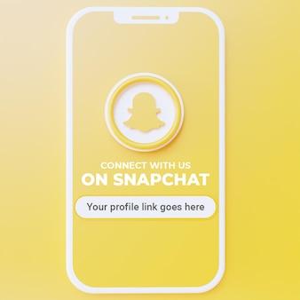 Suivez-nous sur la maquette de publication sur les réseaux sociaux snapchat