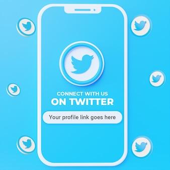 Suivez-nous sur la maquette de publication sur les réseaux sociaux twitter