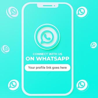 Suivez-nous sur la maquette de publication sur les réseaux sociaux whatsapp