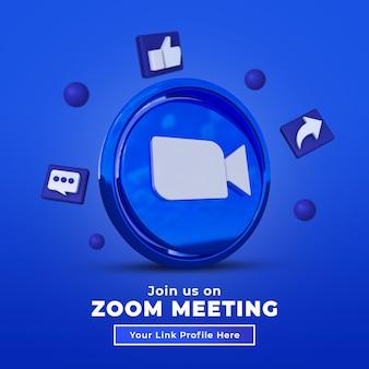 Suivez-nous sur le message carré de médias sociaux zoom avec logo 3d et profil de lien