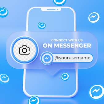 Suivez-nous sur le modèle de bannière carrée des médias sociaux messenger