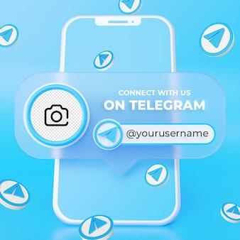 Suivez-nous sur le modèle de bannière carrée des médias sociaux de télégramme