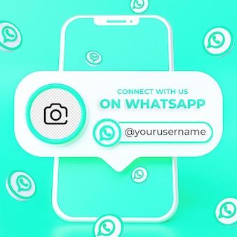 Suivez-nous sur le modèle de bannière carrée de médias sociaux whatsapp