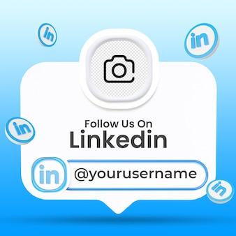 Suivez-nous sur le modèle de bannières du tiers inférieur des médias sociaux de linkedin
