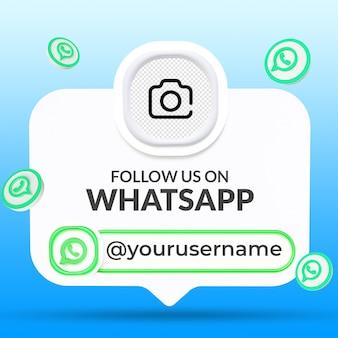 Suivez-nous sur le modèle de bannières du tiers inférieur des médias sociaux whatsapp