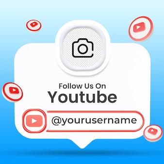 Suivez-nous sur le modèle de bannières du tiers inférieur des médias sociaux youtube