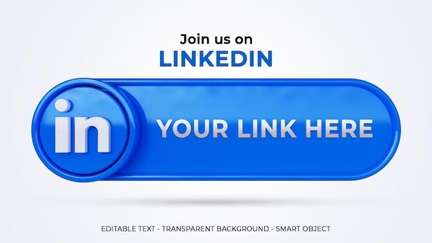 Suivez-nous sur les réseaux sociaux linkedin avec une bannière 3d et un profil de lien