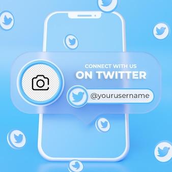 Suivez-nous sur twitter modèle de bannière carrée de médias sociaux